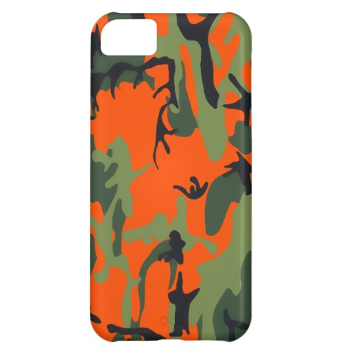 Safety Orange and Green Camo Case For iPhone 5C