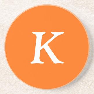 Safety Orange Letters Solid Color Coaster