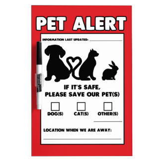 Safety Pet Alert Dry Erase Board