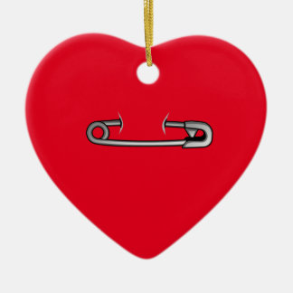 safety pin 1 ceramic heart decoration