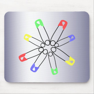 Safety Pin Blue Red Green Rainbow Solidarity Mouse Pad