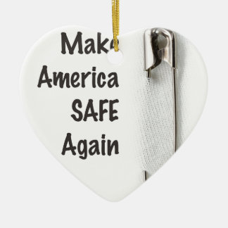 Safety Pin Ceramic Heart Decoration