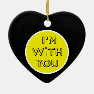 Safety Pin - I'm With You Ceramic Heart Decoration