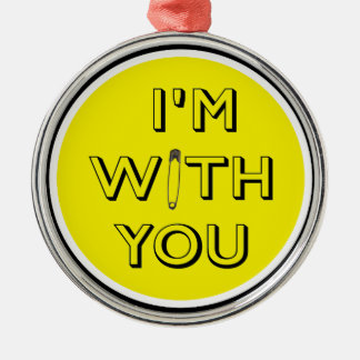 Safety Pin - I'm With You Silver-Colored Round Decoration