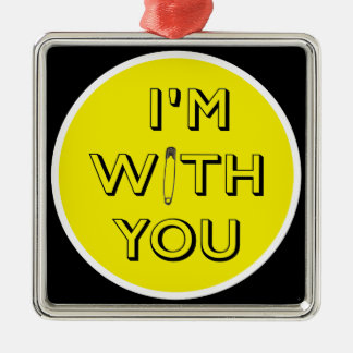 Safety Pin - I'm With You Silver-Colored Square Decoration