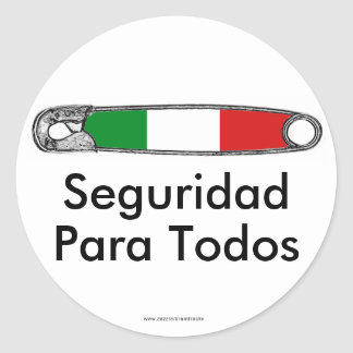 Safety Pin Movement Latino Classic Round Sticker