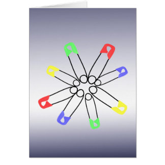 Safety Pin Red Blue Green Rainbow Solidarity Card