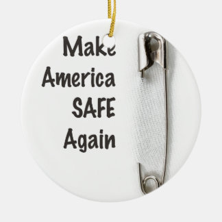 Safety Pin Round Ceramic Decoration