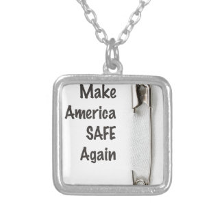 Safety Pin Silver Plated Necklace