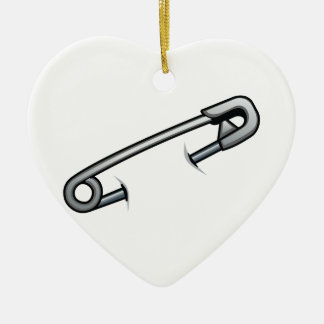 Safety pin solidarity ceramic heart decoration