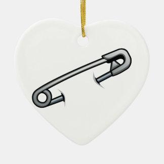 Safety pin solidarity ceramic ornament