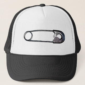 Safety Pin Woodcut Red, White and Blue Trucker Hat