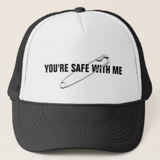 """Safety Pin """"You're Safe With Me"""" Anti-Abuse Trucker Hat"""