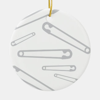 Safety Pins Knitting Ceramic Ornament