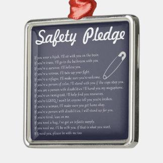 Safety Pledge Silver-Colored Square Decoration