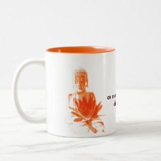 saffron Buddha Gautama with quote Two-Tone Coffee Mug