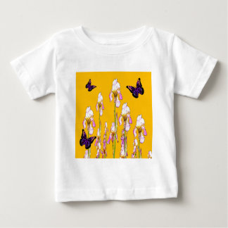 Saffron Pink Iris Black Butterflies by sharles Baby T-Shirt