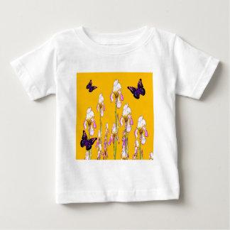 Saffron Pink Iris Black Butterflies by sharles Baby T-Shirt