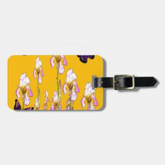 Saffron Pink Iris Black Butterflies by sharles Bag Tag