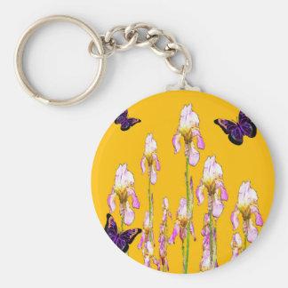 Saffron Pink Iris Black Butterflies by sharles Basic Round Button Key Ring