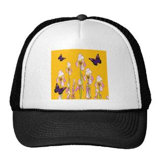 Saffron Pink Iris Black Butterflies by sharles Cap