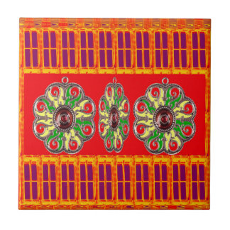 Saffron Red Holy Color Energy Healing Jewels India Tile