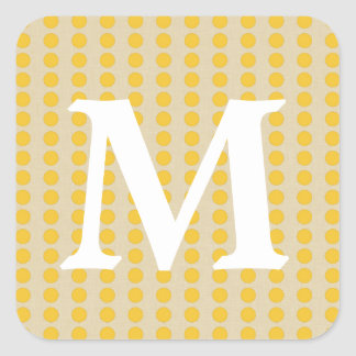 Saffron Spice Moods Dots with Monogram Initial Sticker