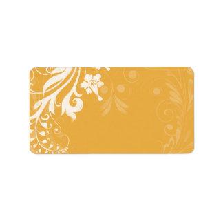 Saffron Yellow Floral Wedding Blank Address Label