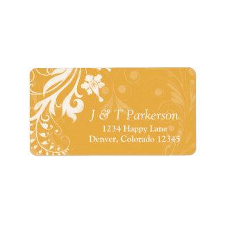 Saffron Yellow White Floral Wedding Address Label