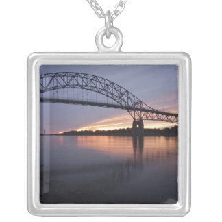 Sagamor Bridge over Cape Cod canal, Silver Plated Necklace