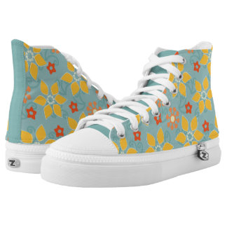 Sage and Gold Retro Floral High Top Printed Shoes