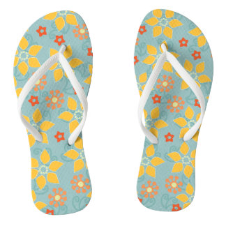Sage and Gold Retro Floral Thongs