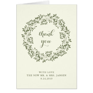 Sage and Ivory Rustic Botanical Wreath | Thank You Card