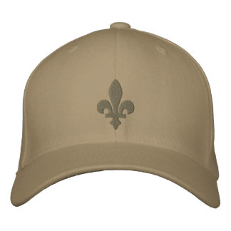 Sage and Khaki Fleur de lis Embroidered Hat
