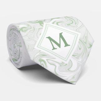Sage and White Marble look with Diamond Monogram Tie