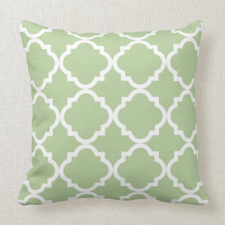 Sage and White Quatrefoil Pattern Throw Pillow