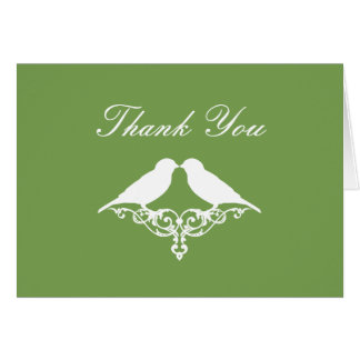 Sage and White Sparrows Thank You Note Card