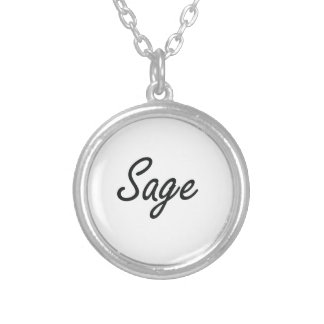 Sage Artistic Name Design Round Pendant Necklace