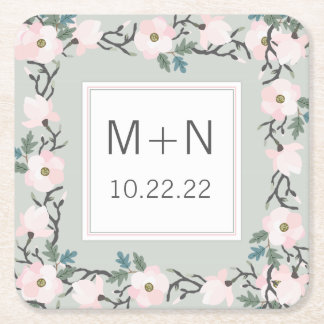 Sage + blush pink floral wedding date monogram square paper coaster