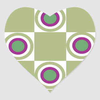 Sage Circles Heart Sticker