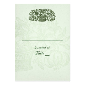 Sage Classic Flower Basket Placecard Business Cards
