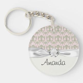sage damask pattern on soft pink Single-Sided round acrylic keychain