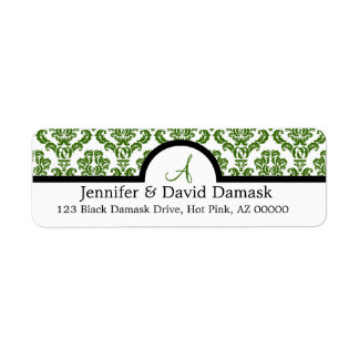 Sage Damask Wedding Monogram Address Labels