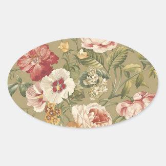 Sage Floral Roses Oval Sticker