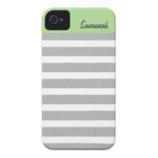 Sage, Gray Stripes Personalized iPhone 4/4s iPhone 4 Case-Mate Case