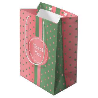 Sage Green and Coral Polka Dots -Thank You Medium Gift Bag