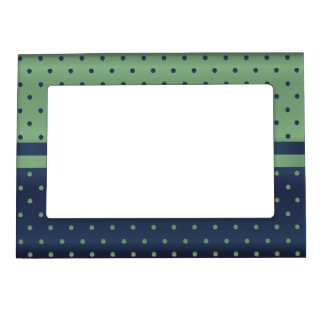Sage Green and Dark Blue Polka Dots Magnetic Picture Frame