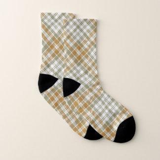 Sage Green and Gold Plaid Socks 1