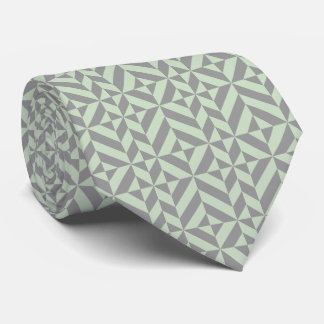 Sage Green and Gray Geometric Deco Cube Tie