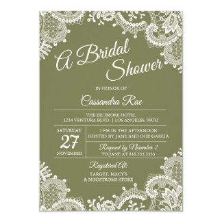 Sage Green and Lace Bridal Shower Invitation